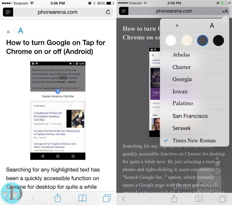 Improved Reader mode in Safari