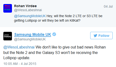 Samsung :No Lollipop for Samsung Galaxy Note II or Samsung Galaxy S III