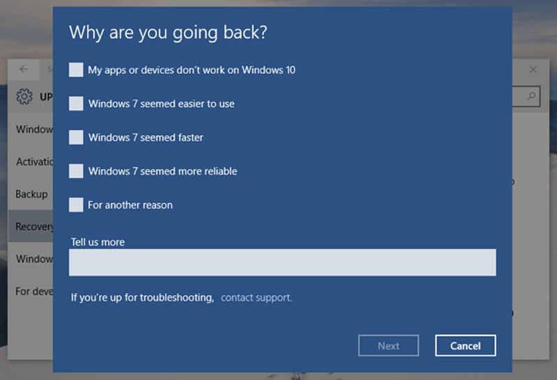 Windows 10 Going Back