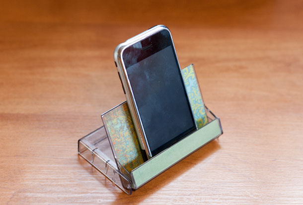 old cassette phone stand