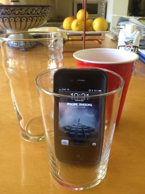 place phone in cup