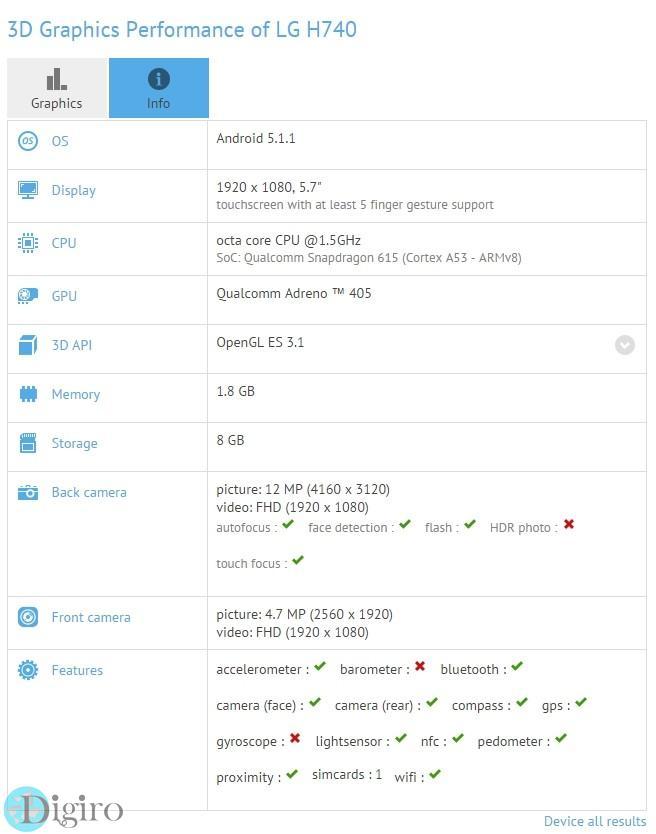 فبلت ال جی H740 با نمایشگر 5.7 اینچی FHD و تراشه اسنپدراگون 615