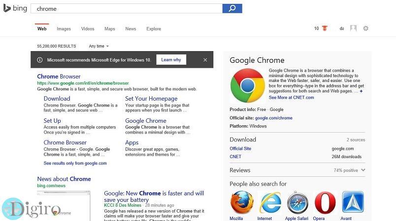 مایکروسافت مرورگر مایکروسافت اج را برای ویندوز 10 توصیه می کند
