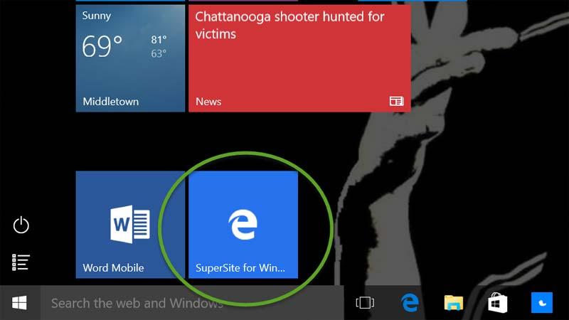 سنجاق کردن سایت با Microsoft Edge