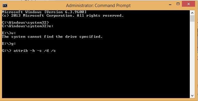 روش دوم: استفاده از دستور attrib