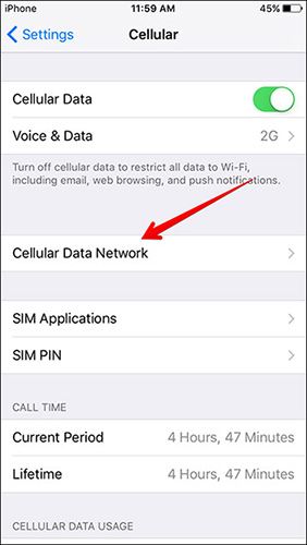 Tap-on-Cellular-Data-Network