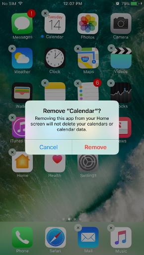 حذف اپلیکیشن های اپل در ios 10