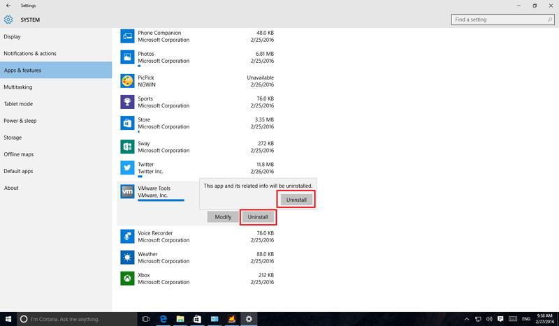 حذف برنامه در ویندوز 10