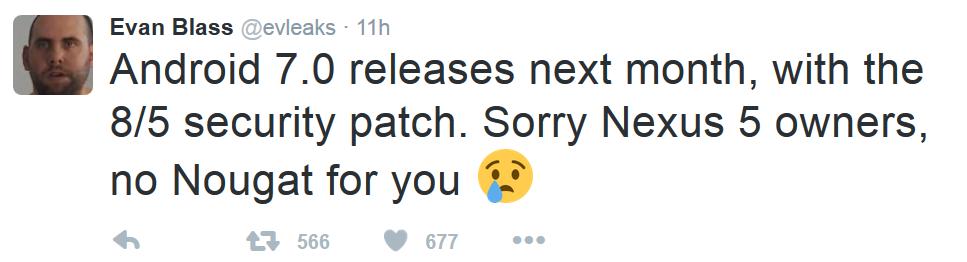 توییت ایوان بلس در رابطه با عرضه نشدن اندروید 7 برای نکسوس 5
