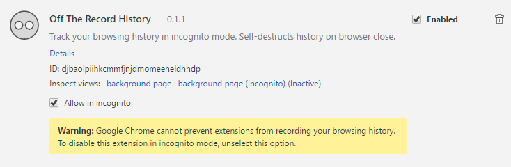 افزونه Incognito mode