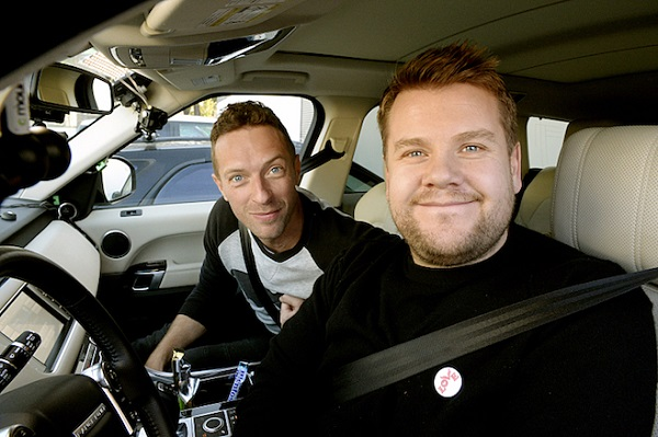 "Chris Martin joins James Corden for Carpool Karaoke on ""The Late Late Show with James Corden,"" airing the week of February 1st, on The CBS Television Network. Photo: Darren Michaels/CBS ©2016 CBS Broadcasting, Inc. All Rights Reserved"