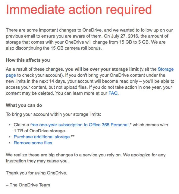 مایکروسافت فضای ذخیره سازی OneDrive را به 5 گیگابایت کاهش میدهد