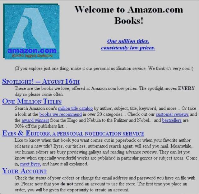 ظاهر صفحه اصلی وبسایت آمازون 21 سال قبل چگونه بود؟