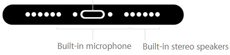 در قسمت انتهای آیفون 7، با یک اسپیکر استریوی داخلی و 2 میکروفون روبرو هستیم