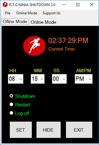 برنامه RTG Ninja Shutdown