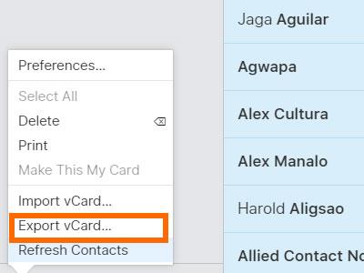 صادر کردن لیست مخاطبین iCLoud