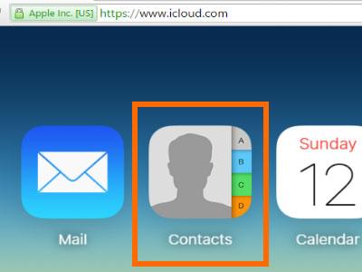 بخش مخاطبین در iCloud