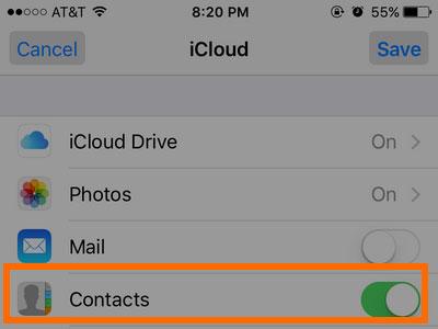 همگام کردن لیست مخاطبین با iCloud