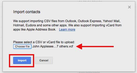 آپلود vcard در سرویس گوگل