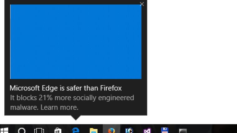 پیغام مایکروسافت در هنگام استفاده از فایرفاکس، مبنی بر اینکه Edge امن تر است