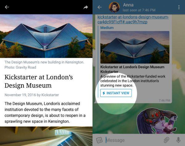 دو قابلیت Instant View و ابزار Telegraph به تلگرام اضافه شدند