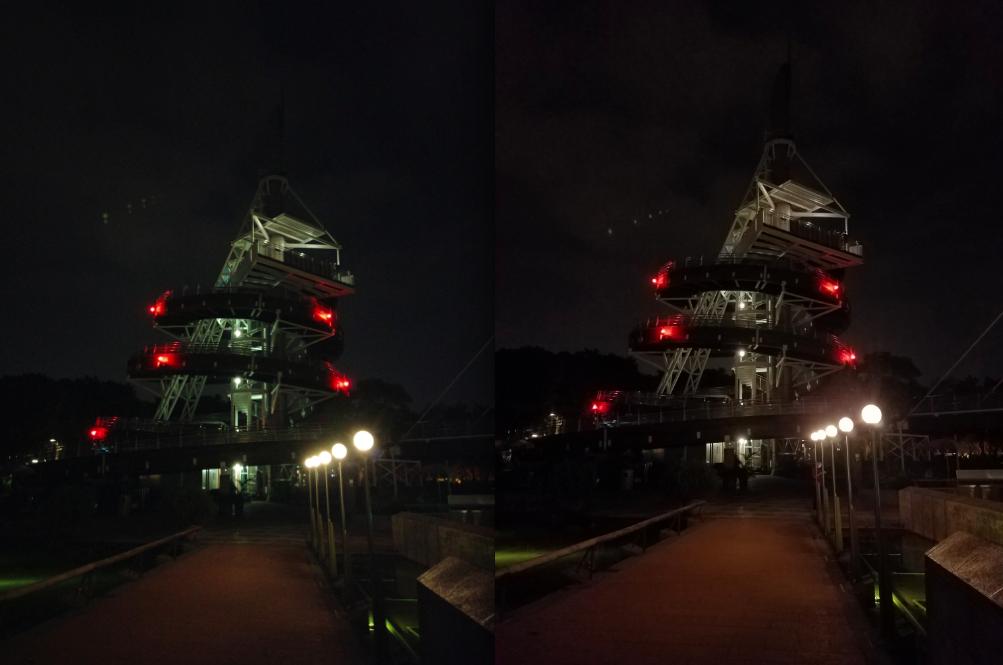 مقایسهی عملکرد دوربینهای می میکس (سمت چپ) و سامسونگ گلکسی اس 7 اج (سمت راست) در شرایط نوری ضعیف