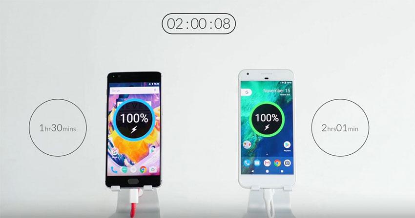 مقایسه سرعت شارژ وان پلاس 3T و گوگل پیکسل ایکس ال