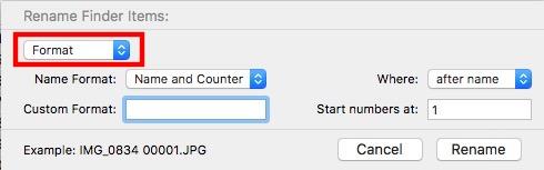 اولین منوی پایین افتادنی در تنظیمات تغییر نام