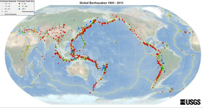 زمین لرزه هایی که از سال 1900 تا 2013 ثبت شده اند