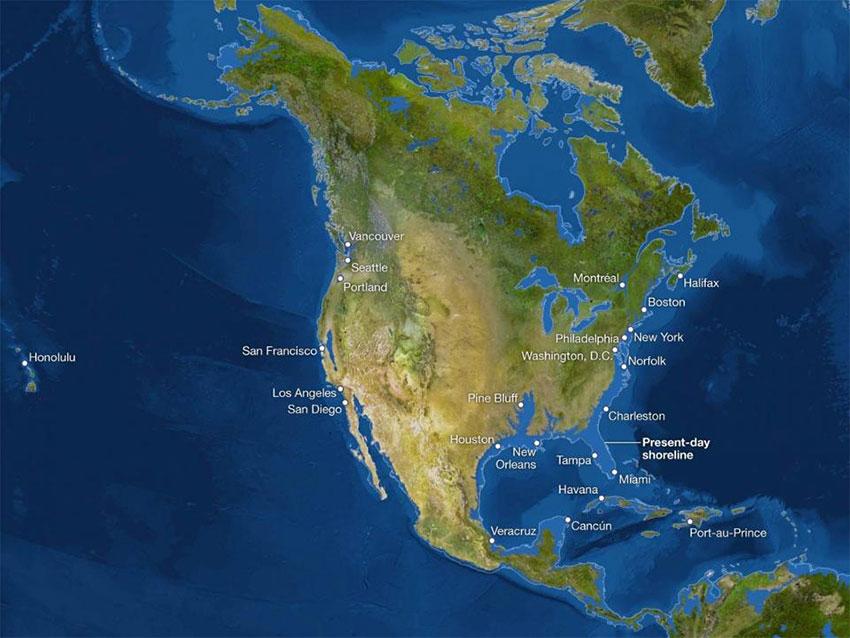 آمریکای شمالی پس از ذوب شدن یخها