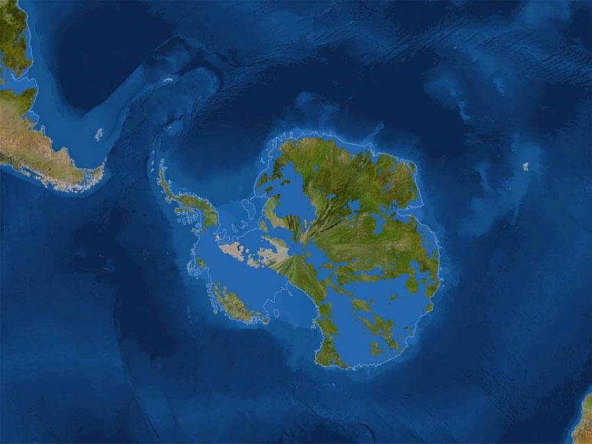 قطب جنوب پس از ذوب شدن یخها
