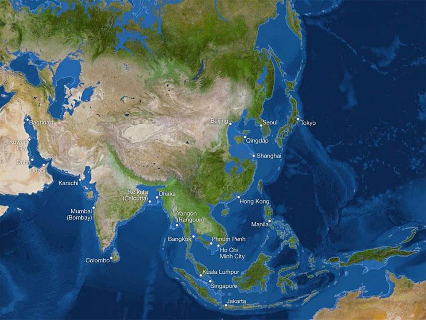 آسیا پس از ذوب شدن یخها