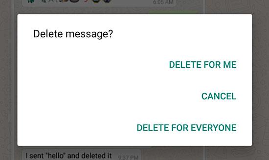 حذف پیامها در واتساپ