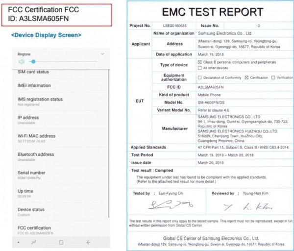 گلکسی اِی 6 در FCC