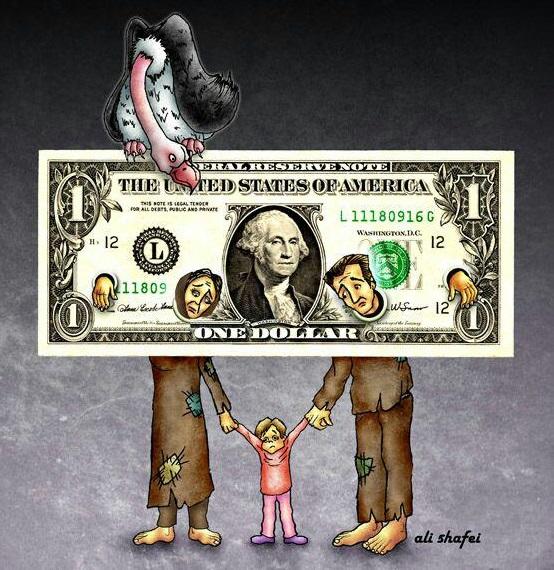 کاریکاتور تاثیر افزایش قیمت ارز بر قشر اسیب پذیر