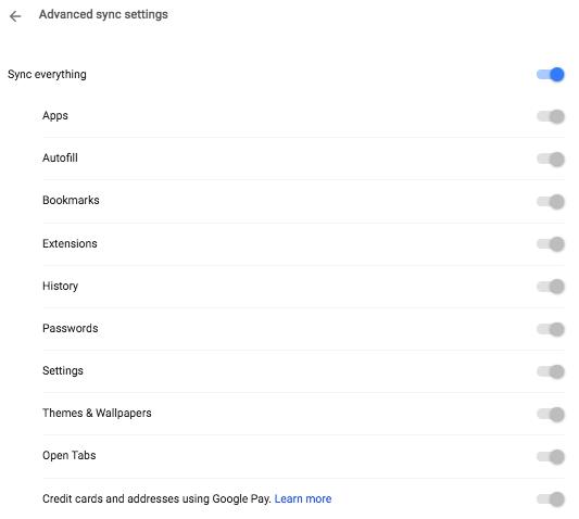 Google Sync Settings - نحوهی انتقال تب های مرورگر کروم بین اندروید و کامپیوتر