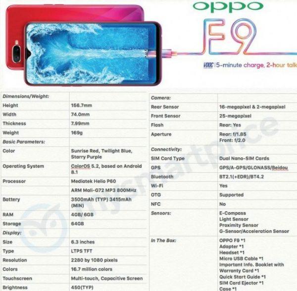 مشخصات کامل اوپو اف 9