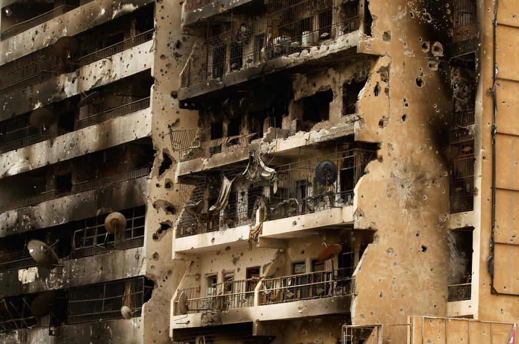 ساختمان های ویران شده در لیبی