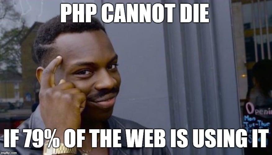 اگر 79٪ از وبسایتها در حال استفاده از پیاچپی هستند، پیاچپی نمیتواند منسوخ شود.