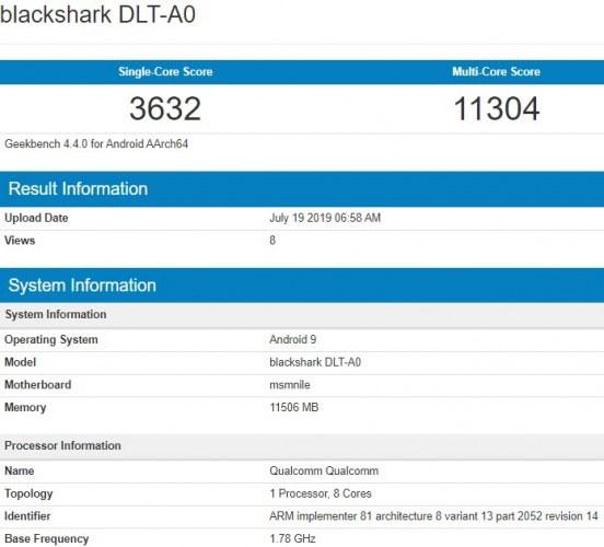 انتشار مشخصات کلیدی «بلک شارک 2 پرو» در Geekbench