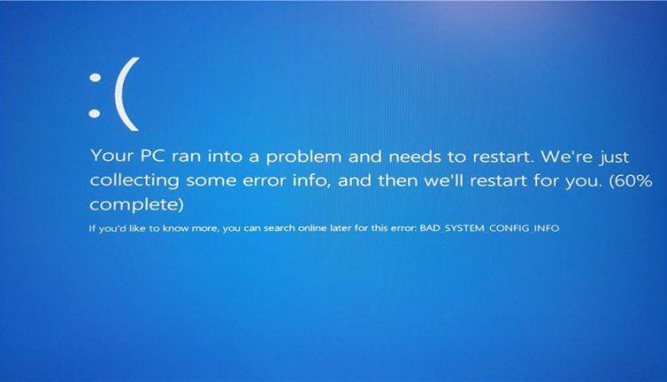 """رفع خطای """" Bad System Config Info"""""""