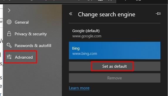 تغییر موتور جستجوی پیش فرض در مایکروسافت اج