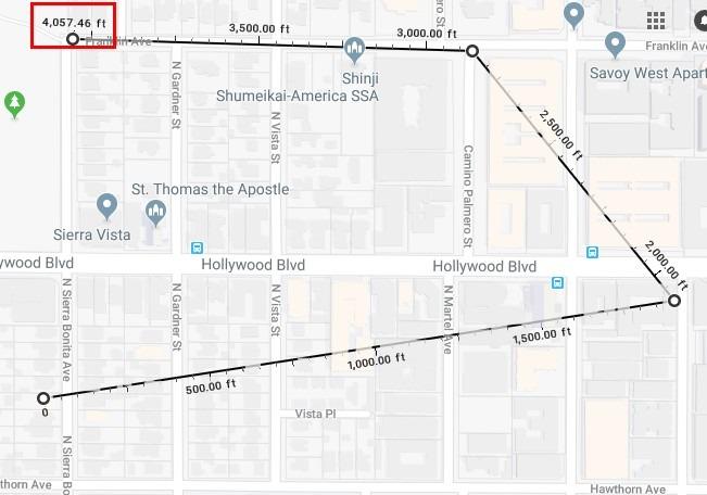 اندازه گیری فاصله دو نقطه در گوگل مپ