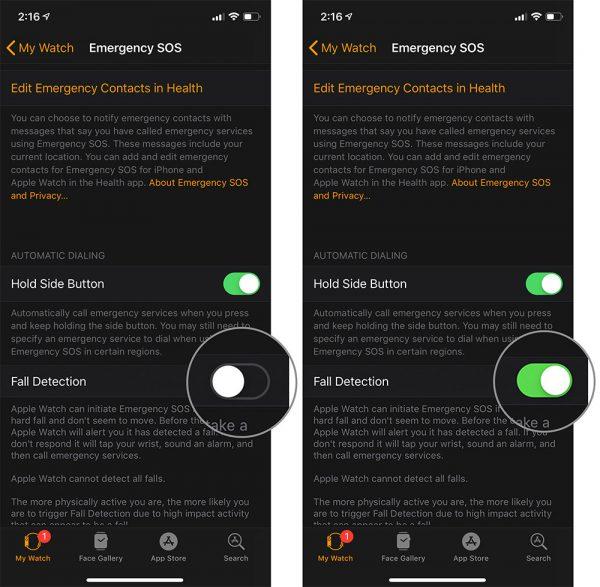 فعال کردن قابلیت تشخیص سقوط (Fall Detection) در اپل واج 4 و 5