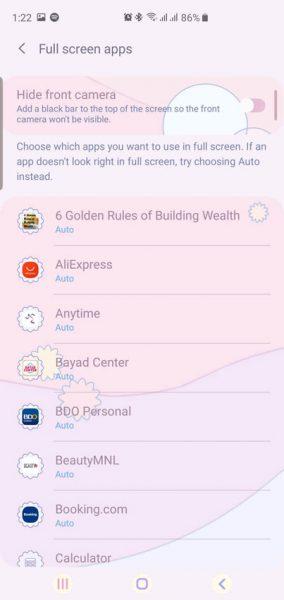Galaxy S10 Full-Screen Apps