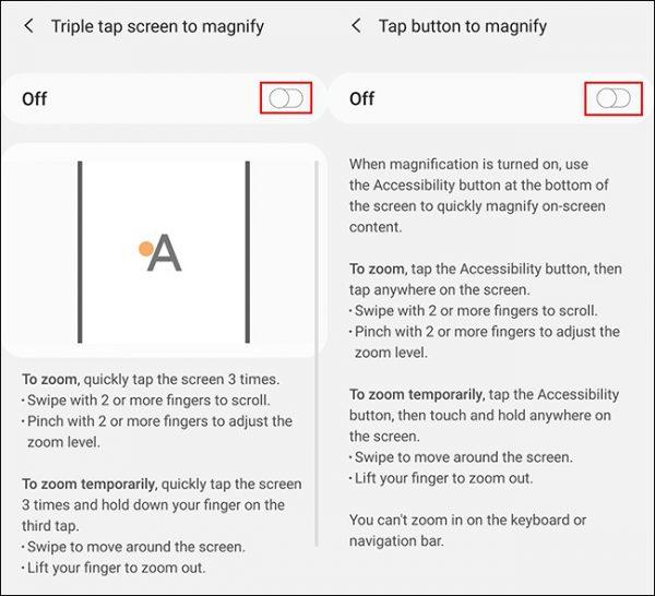 فعال کردن قابلیت Screen Magnification در دستگاه اندروید