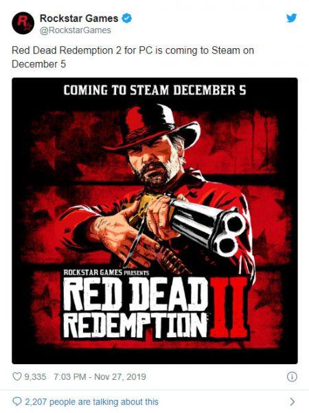 تاریخ عرضه Red Dead Redemption 2 در استیم