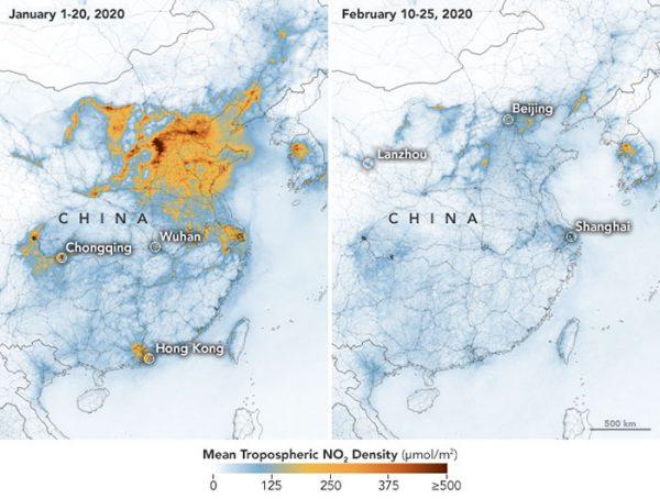 تصویر ماهوارهای از کاهش آلودگی هوای چین
