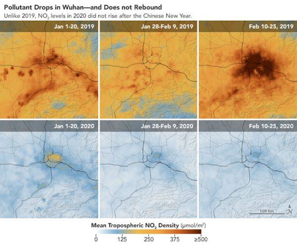 تصویر ماهوارهای کاهش آلودگی هوای چین