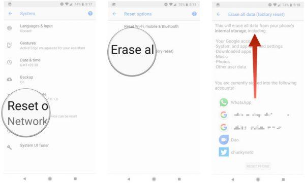 تنظیم مجدد گوشیهای Pixel و Android